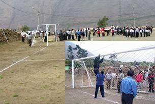 """También se inauguró los arcos de un estadio deportivo de Carac. El padrino fue el  Presidente Regional Nelson Chui Mejia; el Campo deportivo  lleva el nombre del primer alcalde del distrito, """"Filomeno cueva""""."""