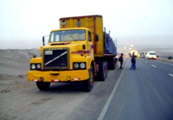 Camión con que se estrelló el furgon.