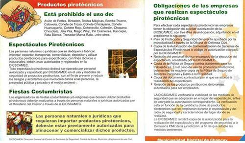 Prohíben uso de artefactos pirotécnicos en Chancay.