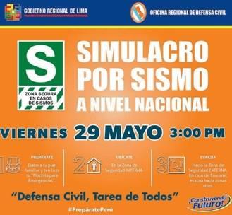 GOREL insta a huaralinos a participar del simulacro de sismo este viernes 29 Huaralenlinea.com
