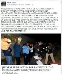 Atacan con insultos en red social Facebook a alcadesa de la provincia de Huaral.
