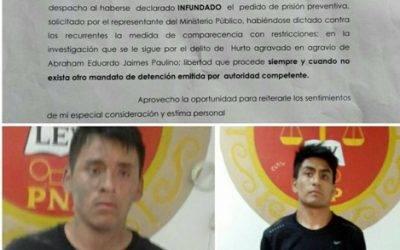 Jueza  de Huaral libera a dos presuntos delincuentes