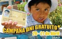 Atención Huaral! Campaña de DNI gratis este 20 y 21 de Abril