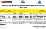 Huaral: Cronograma de empadronamiento de pequeños productores afectados