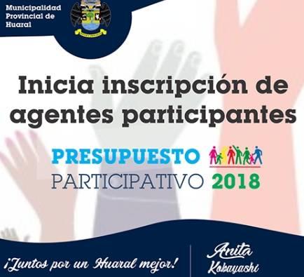 Inicia inscripción de agentes participantes para el Presupuesto Participativo 2018.