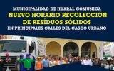 Municipalidad de Huaral comunica nuevo horario recolección de residuos sólidos en principales calles del casco urbano